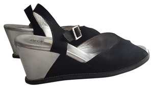 Arche Wedge Suede Leather Black/ Silver Wedges