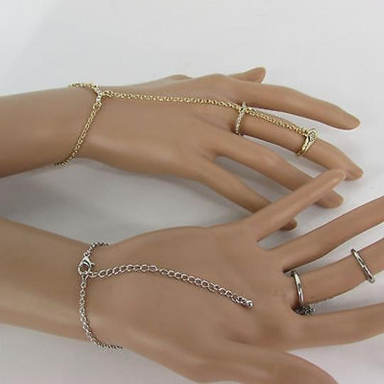 Other Women Double Rings Long Bracelet Fashion Hand Chain Slave Ring Silver Gold