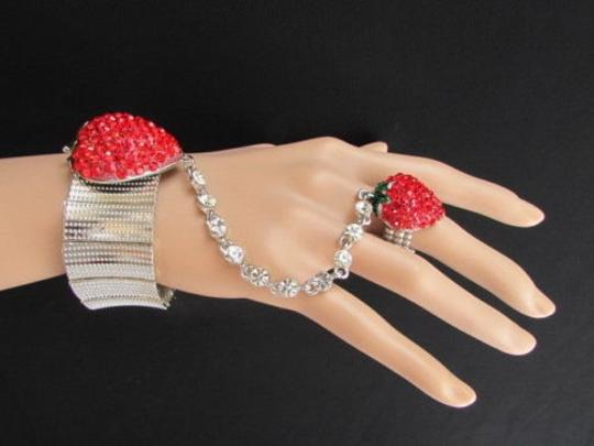 Other Women Big Red Strawberry Metal Hand Chain Multi Rhinestones