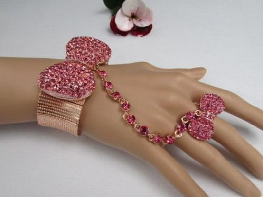Other Women Rose Gold Metal Bow Hand Chain Multi Pink Rhinestones