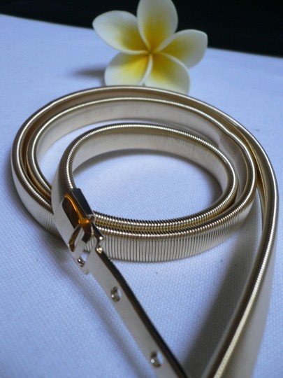 Style : Dance/ Prom, Photo Shoot / Fancy / Casual / Dressy / Sexy / Fun / Unique / Western Condition: Brand New Material: Metal Chain Links Women Hip High Waist Thin 0.3 Gold Metal Fashion Belt Classic Buckle Image 3