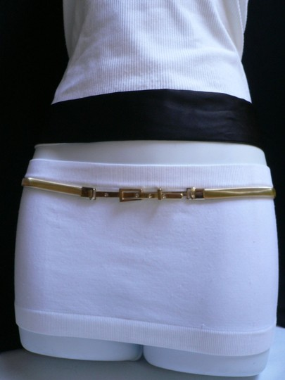 Style : Dance/ Prom, Photo Shoot / Fancy / Casual / Dressy / Sexy / Fun / Unique / Western Condition: Brand New Material: Metal Chain Links Women Hip High Waist Thin 0.3 Gold Metal Fashion Belt Classic Buckle Image 5
