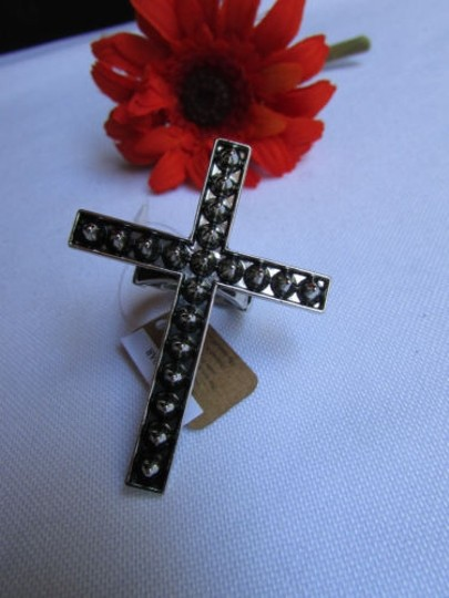 Alwaystyle4you Women Statement Metal Cross Elastic Ring Antique Silver Spikes Image 1