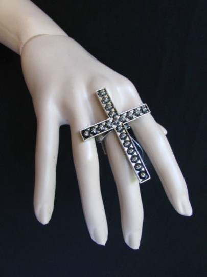 Other Women Statement Metal Cross Elastic Ring Antique Silver Spikes