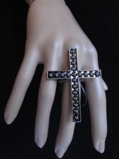 Alwaystyle4you Women Statement Metal Cross Elastic Ring Antique Silver Spikes Image 7