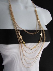 Women Fashion Long Metal Multi Thin Wave Chain Necklace Crosses