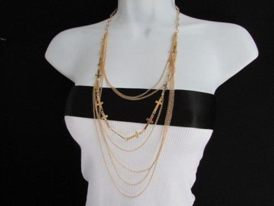 Other Women Long Metal Multi Thin Wave Chain Necklace Crosses