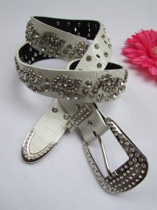Other Women White Faux Leather Western Waves Belt Silver Rhinestones Buckle 35-41