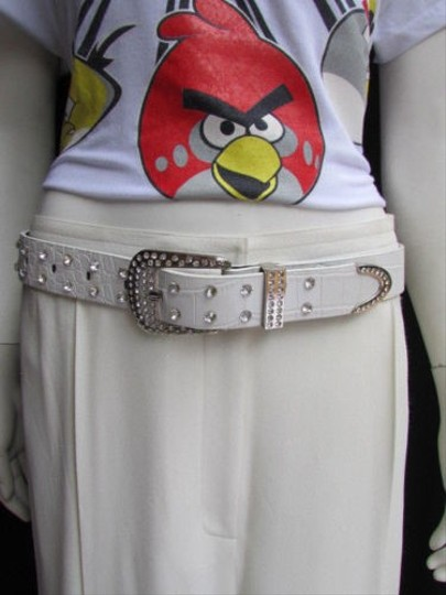 Alwaystyle4you Women White Faux Leather Western Waves Belt Silver Rhinestones Buckle Image 1
