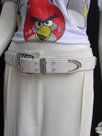 Alwaystyle4you Women White Faux Leather Western Waves Belt Silver Rhinestones Buckle Image 11