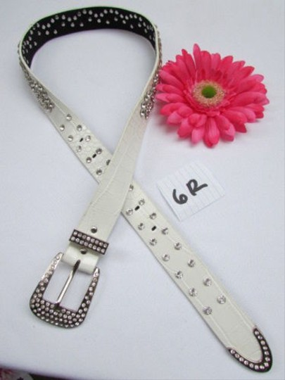 Alwaystyle4you Women White Faux Leather Western Waves Belt Silver Rhinestones Buckle Image 3