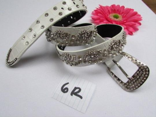 Alwaystyle4you Women White Faux Leather Western Waves Belt Silver Rhinestones Buckle Image 5