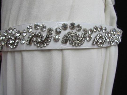 Alwaystyle4you Women White Faux Leather Western Waves Belt Silver Rhinestones Buckle Image 6