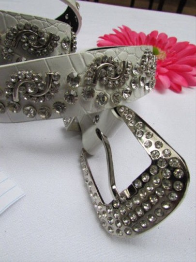 Alwaystyle4you Women White Faux Leather Western Waves Belt Silver Rhinestones Buckle Image 7