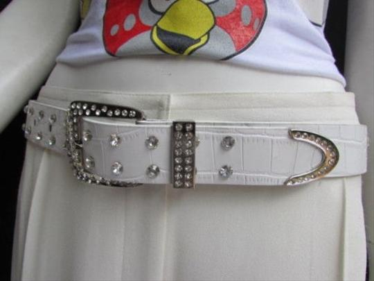 Alwaystyle4you Women White Faux Leather Western Waves Belt Silver Rhinestones Buckle Image 8
