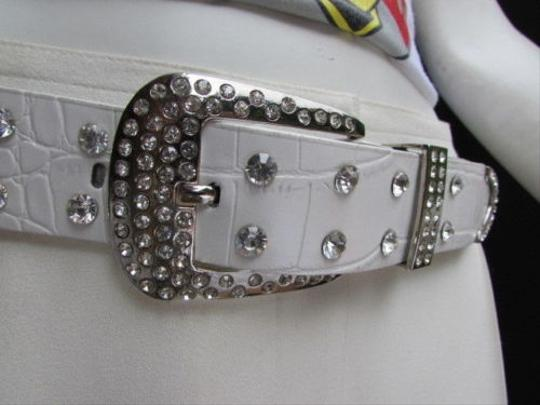 Alwaystyle4you Women White Faux Leather Western Waves Belt Silver Rhinestones Buckle Image 9