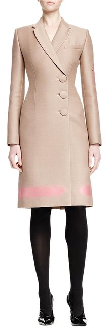 Item - Beige Spray Painted-print Asymmetric Button French Coat Size 4 (S)