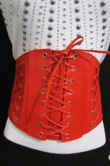 Other Women Elastic High Waist Wide Fashion Corset Belt Red White Silver