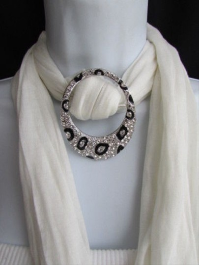 Other Women Fashion Silver Black Metal Leopard Stylish Scarf Pendant Rhinesrones