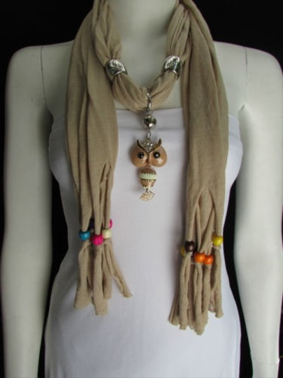 Preload https://item2.tradesy.com/images/other-women-beige-fashion-soft-scarf-long-necklace-multicolors-wood-beads-owl-pendant-1859036-0-0.jpg?width=440&height=440