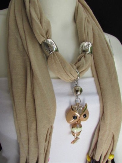 Other Women Beige Fashion Soft Scarf Long Necklace Multicolors Wood Beads Owl Pendant