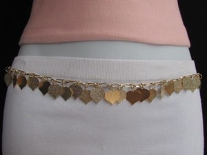 Women Waist Hip Gold Metal Chains Hearts Leaves Fashion Belt 25-39