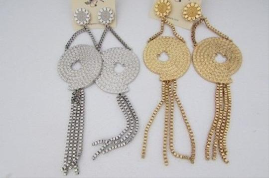 Other Women Big Fashion Gold Silver Metal Link Chains 7 Long Earring Set Fringe