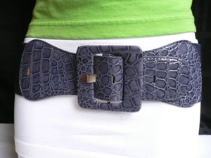 Other Women High Waist Hip Navy Blue Elastic Waistband Wide Buckle Belt