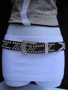 Other Women Black Faux Leather Western Fashion Belt Waves Rhinestones 30-36 Ml