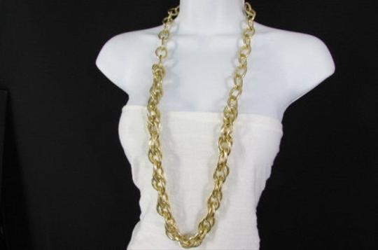 Other Women Silver Gold Thick Metal Double Chain Links Plus Size