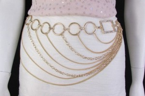 Women Silver Gold Metal Chain Fashion Belt Multi Strand Circle 28-42