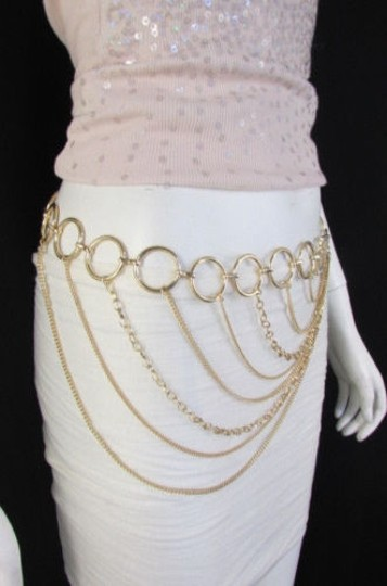 Alwaystyle4you Women Silver Gold Metal Chain Fashion Belt Multi Strand Circle Image 7