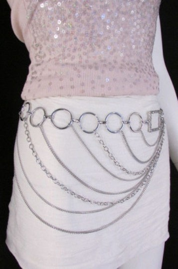 Alwaystyle4you Women Silver Gold Metal Chain Fashion Belt Multi Strand Circle Image 8