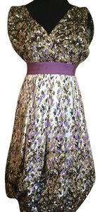 Charles Nolan short dress Tan & Purple on Tradesy