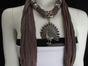 Women Soft Fabric Brown Fashion Scarf Long Necklace Peacock Pendant Rhinestones