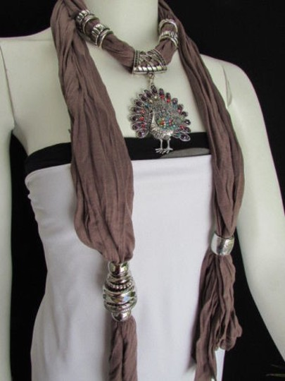 Alwaystyle4you Women Soft Fabric Brown Scarf Long Peacock Pendant Rhinestones Image 1
