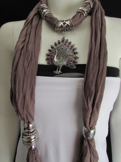 Alwaystyle4you Women Soft Fabric Brown Scarf Long Peacock Pendant Rhinestones Image 10