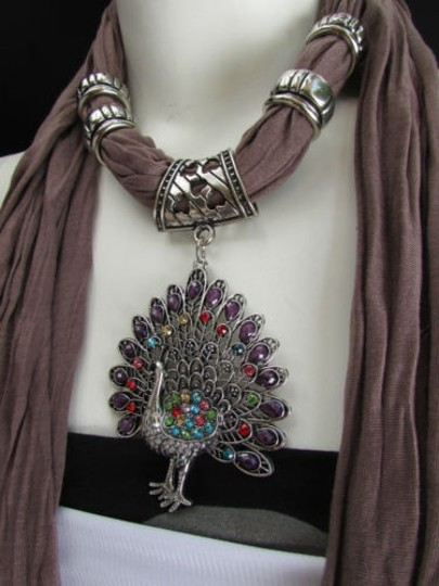 Other Women Soft Fabric Brown Fashion Scarf Long Necklace Peacock Pendant Rhinestones