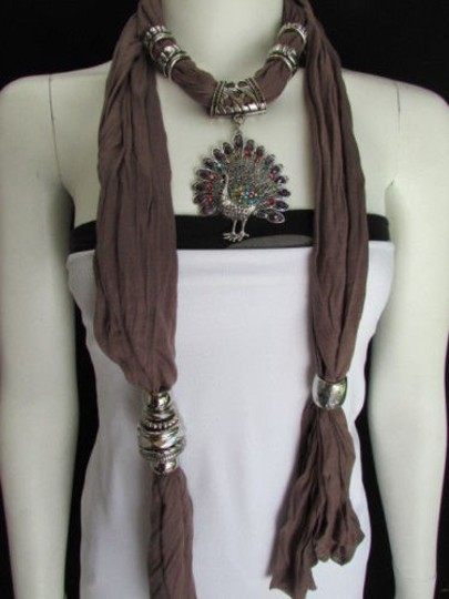 Alwaystyle4you Women Soft Fabric Brown Scarf Long Peacock Pendant Rhinestones Image 3