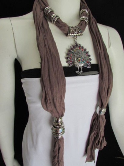 Alwaystyle4you Women Soft Fabric Brown Scarf Long Peacock Pendant Rhinestones Image 5