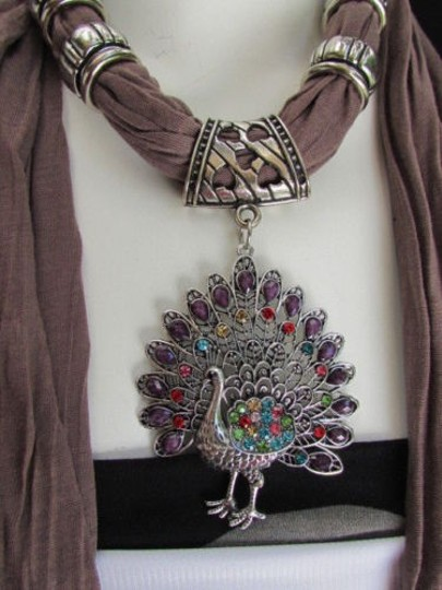 Alwaystyle4you Women Soft Fabric Brown Scarf Long Peacock Pendant Rhinestones Image 6