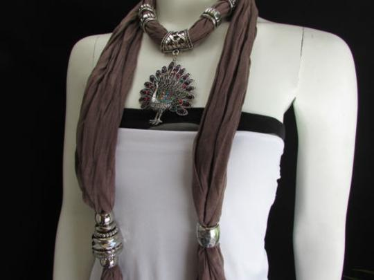Alwaystyle4you Women Soft Fabric Brown Scarf Long Peacock Pendant Rhinestones Image 7