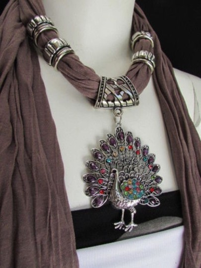 Alwaystyle4you Women Soft Fabric Brown Scarf Long Peacock Pendant Rhinestones Image 8