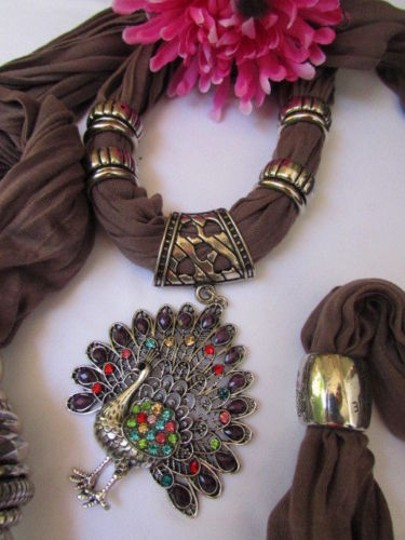 Alwaystyle4you Women Soft Fabric Brown Scarf Long Peacock Pendant Rhinestones Image 9