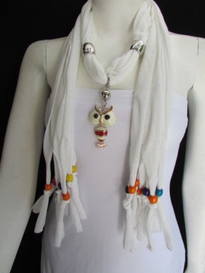 Other Women White Scarf Long Necklace Multi colors Wood Beads Owl Pendant