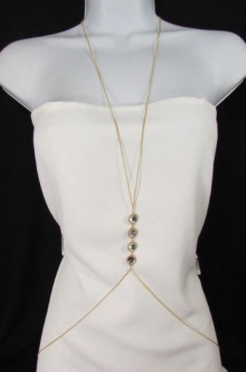 Other Women Gold Body Chain Long Necklace Jewelry Big Silver Rhinestones