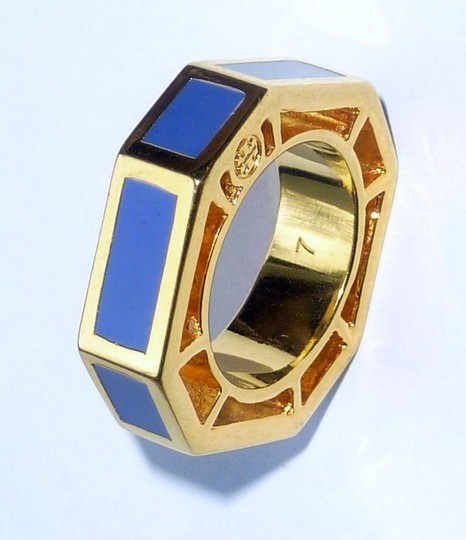 Tory Burch NEW TORY BURCH Logo Octagon Rylan Gold Plated/Blue Cocktail Ring