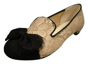 Chanel New Lace Bow Toe Beige & Black Flats