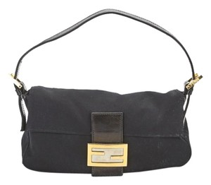 Fendi Baguette Silk Gold Hardware Shoulder Bag
