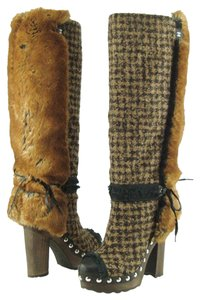 Chanel Camel Check Knee High Studded Platform Multi Color Boots